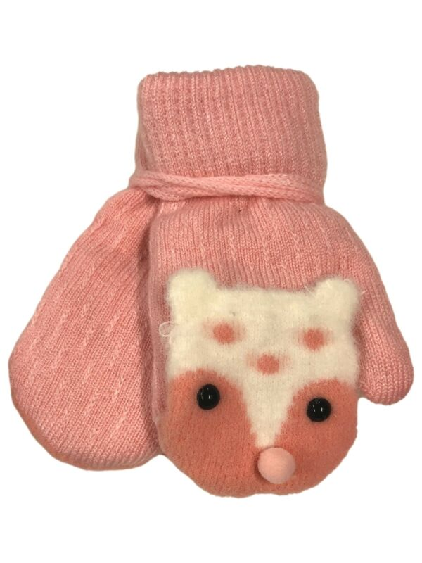 Toddler Girls Hot Pink Sherpa Lined Teddy Bear Mittens with String Attachment
