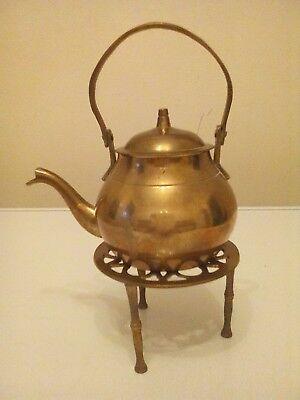 Vintage Brass teapot / kettle with trivet.