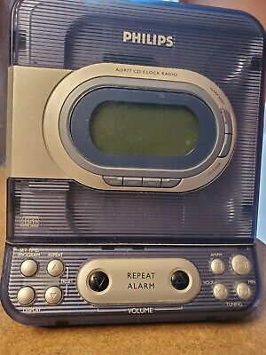 Philips AJ3977 2006 CD Player and Radio Alarm Clock Combo Blue Stereo Tested
