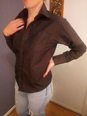 Versace Medium Brown Collared Long Sleeve Button Up Shirt