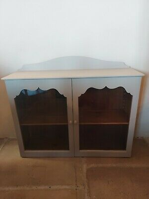 Vintage Antique Pine Glass Fronted Wall Cabinet