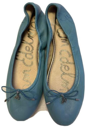 flats felicia blue leather ballet tiny bow