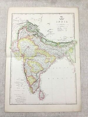 Antique Map of India Ceylon Indian Continent Hand Coloured 19th Century Original