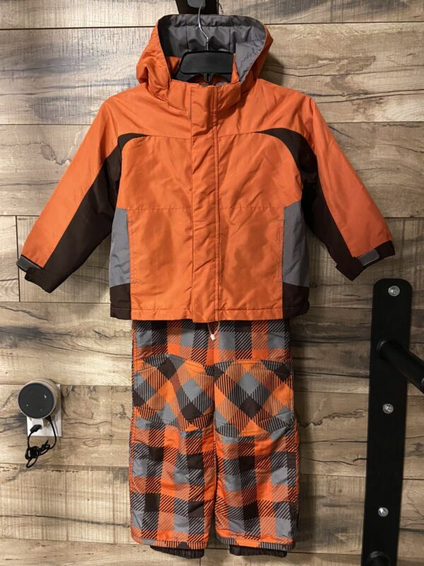 Circo 4T / 5T Kids Snow Pants Bib Winter Jacket Set Orange Brown Plaid Snowboard