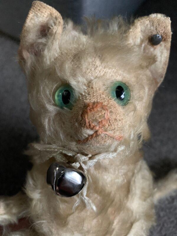 "RARE Early  Antique Fluffy White ? Mohair  Steiff CAT  FF Long f Button  8"" NR!"
