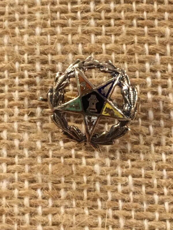 Vintage Order Of The Eastern Star 10k Top Enamel Pin