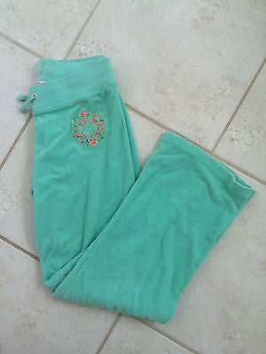Girls JUICY COUTURE LOVE Green Terry Sweatpants Size L New w