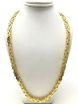 Men's 14k Yellow Gold Solid Square Byzantine Necklace Chain 24