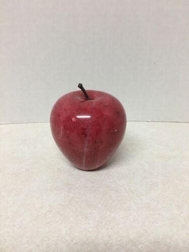 "Vintage  Marble Granite Alabaster Stone Red Apple Decor Fall 3"""