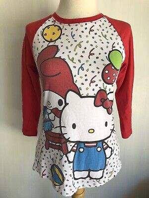 fficial Sanrio 50th Anniversary Raglan T-Shirt Size Medium (Nerdy Hello Kitty)