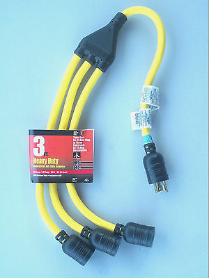 Twist Lock L5-20 Triple Receptacle Outlet Splitter 3 Jobsite Generator Cord