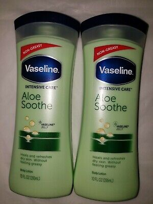 Aloe Jelly (2 Vaseline Non Greasy Intensive Care Aloe Soothe Jelly Body Lotion 10 oz NEW)