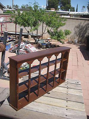 Slotted Display Shelf - Vintage Wood * 18-Slot CUP & SAUCER SHELF * Knick Knack Caddy Rack Display Case