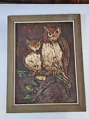 "Vintage Framed Oil Canvas ""Sentry Owls"" Signed Art Norma Smith 28 x 22"