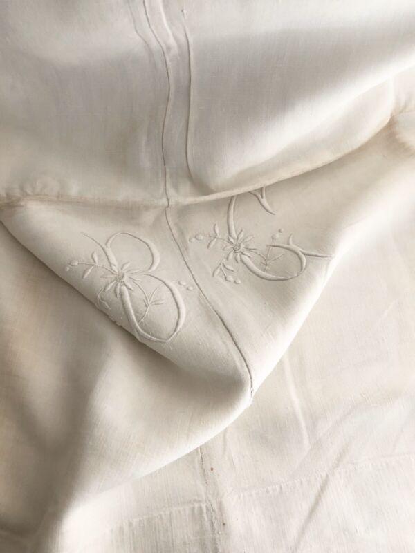 Antique TROUSSEAU bed sheet PURE LINEN central seam NATURAL tones BC mono c1850