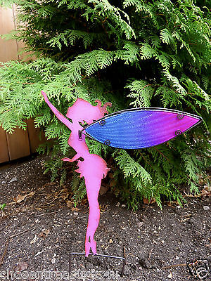 FAIRY METAL STAKE 16 IN. FAERIE VILLAGE DECOR MAGICAL GLASS GLITTER WINGS NEW