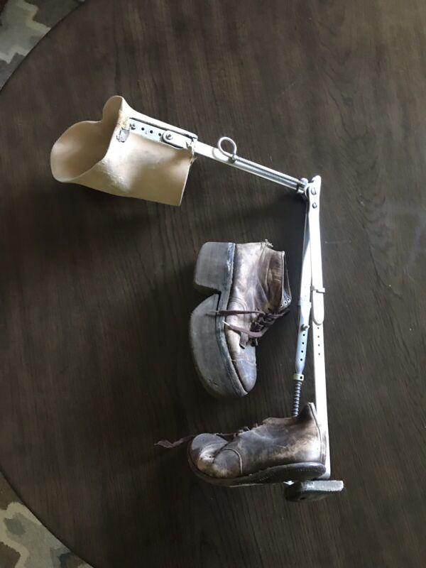 Vintage Leg Brace With Platform Shoe