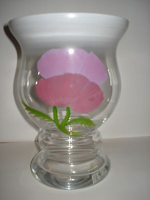 EISCH GERMAN HAND PAINTED GLASS VASE, FROSTED TOP HEAVY BOTTOM