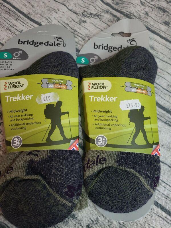 Bridgedale Mens Wool Fusion Trekker Midweight Socks Size S 3-5.5 x2