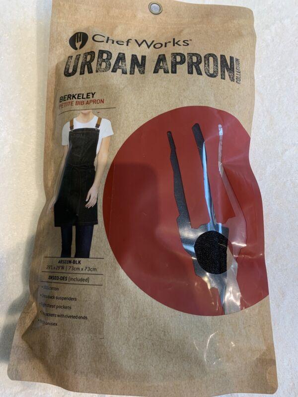 CHEF WORKS~URBAN APRON~BERKELEY APRON with SUSPENDERS~NIP~ Black