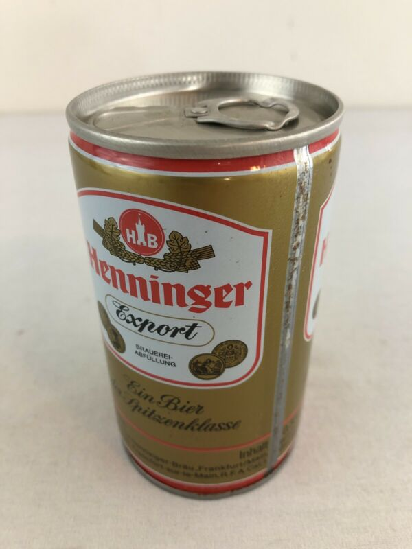 Henninger Export 12 oz Bottom Opened Pull Tab Steel Beer Can