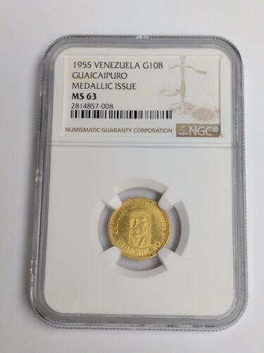 1955 Venezuela Gold 10 Bolivares GUAICAIPURO NGC MS 63 - MEDALLIC ISSUE