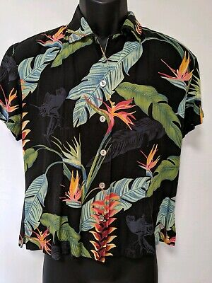 GUY HARVEY Womens Blouse Short Sleeve SZ Small Marlin- Bird of Paradise Tropical Fish Tropical Cat Collar