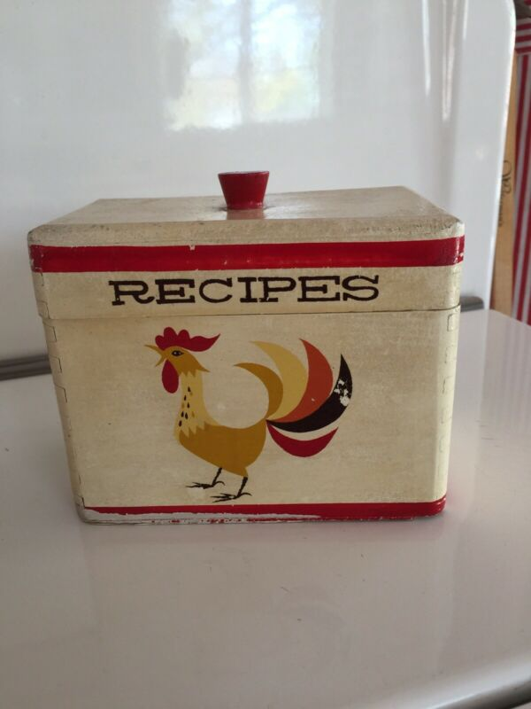 Vintage Wooden Wood Recipe Box for Kitchen
