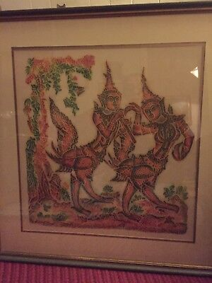 Indian Goddess Art. Hindu Sanskrit God Goddess Batik/Durum ? Vintage Framed
