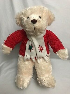 "CHRISTMAS HALLMARK Ivory BEAR 14"" PLAYS JINGLE BELLS Musical Red Sweater Plush"