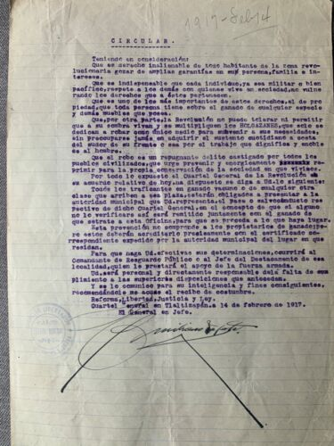 EMILIANO ZAPATA AUTOGRAPHED ADS POLITICAL CIRCULAR ON BANDITRY MEXICO PSA/DNA
