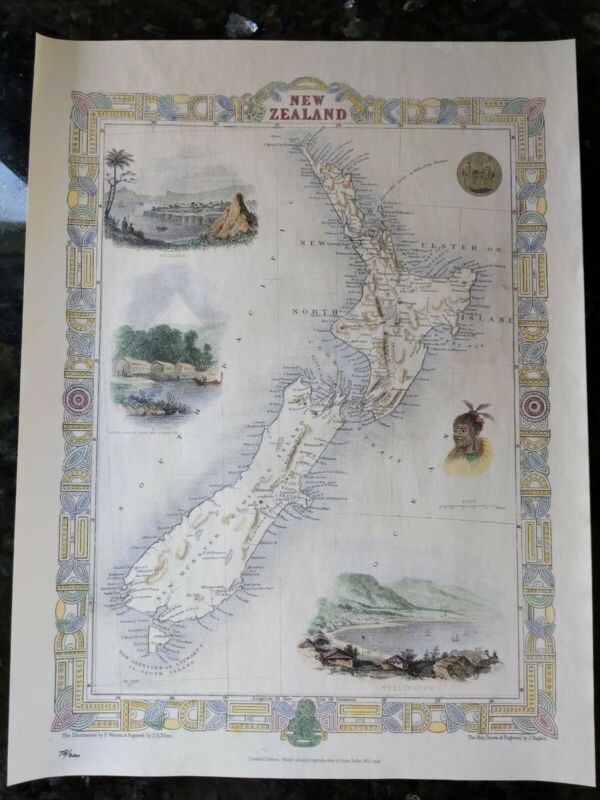 1851 Antique Map; New Zealand - John Tallis / Rapkin - Limited Edition