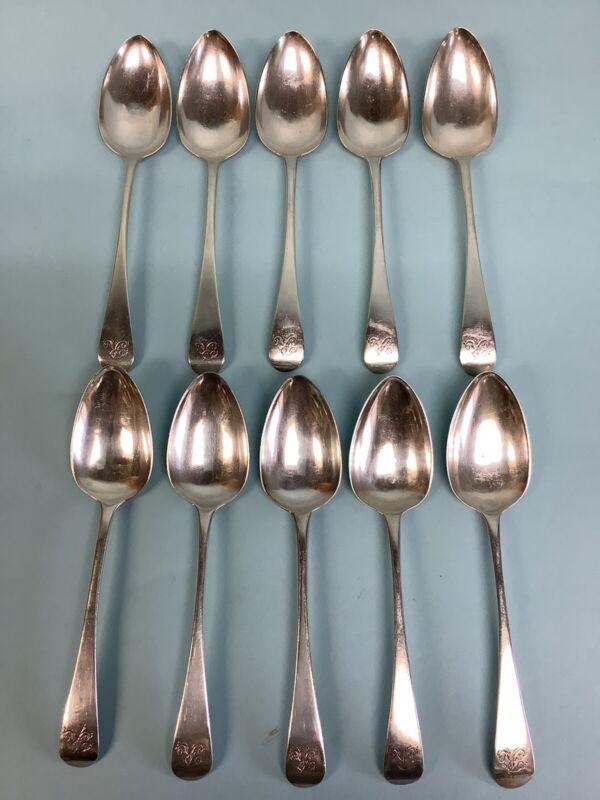 "Sterling Silver Rat Tail Teaspoons (10 Pcs.) London 1808 6 3/4"" Long"