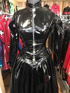 Misfitz black Pvc  Padlock Lockable ballgown size 18 gothic goth Halloween TV CD