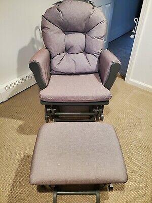 Nursery Glider Ottoman Set Gray Wooden Frame Gray Cushions Baby Rocker Chair,