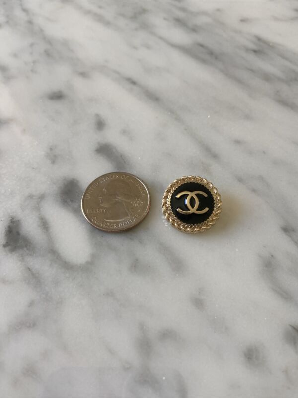 chanel stamped button black