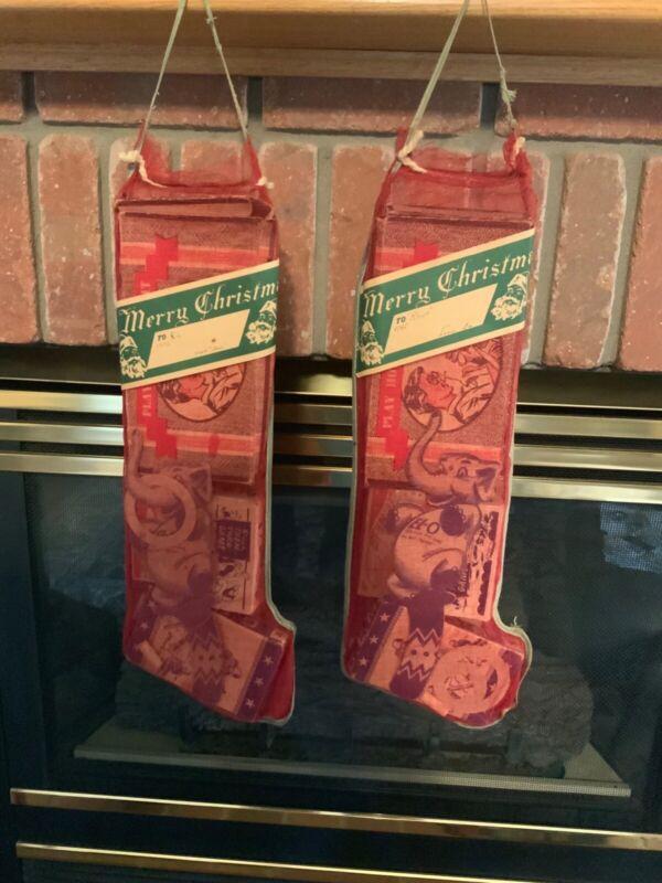 1945   (2) Vintage Mesh Christmas Stockings Never Opened