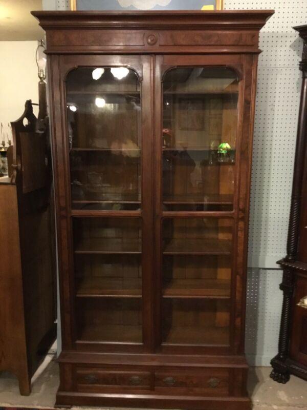"""All Original Tall Victorian Walnut 2 Door 2 Draw Bookcase 84"""" X 45 1/2"""" X 17"""""""