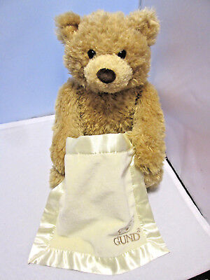 Gund Peek-A-Boo Bear Plays 'Peek-A-Boo' Talks & Raises The Blanket! Great Gift!