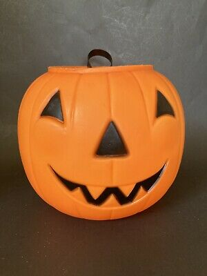 Vintage Empire Blow Mold Orange Pumpkin JOL Candy Treat Bucket Pail Halloween