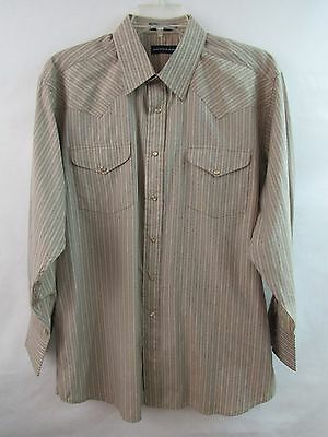 (Panhandle Slim Mens Long Sleeve Pearl Snap Western Beige Black Stripes Size L  )