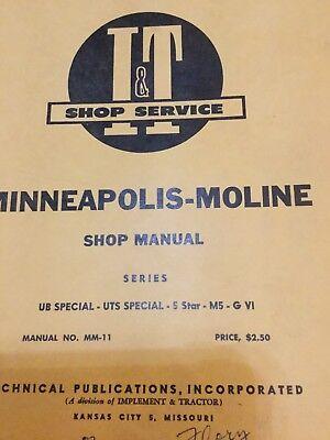 It Minneapolis -moline Shop Manual Ub Special Uts Special- 5 Star- M5 Gvi