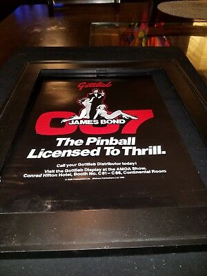 Gottlieb James Bond 007 Pinball Rare Original Promo Poster Ad Framed!