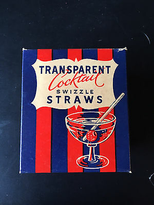 1960s Full Box of Teddy Bear Transparent Cocktail Swizzle Straws