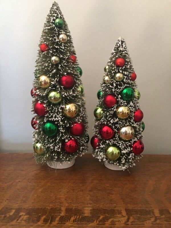 Vintage Style Flocked Bottle Brush Christmas Trees With Ornaments
