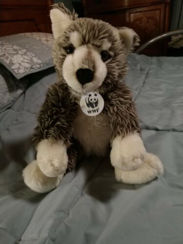 Build A Bear Wwf Wolf, 12 In Seated, White, Grey - $20.00