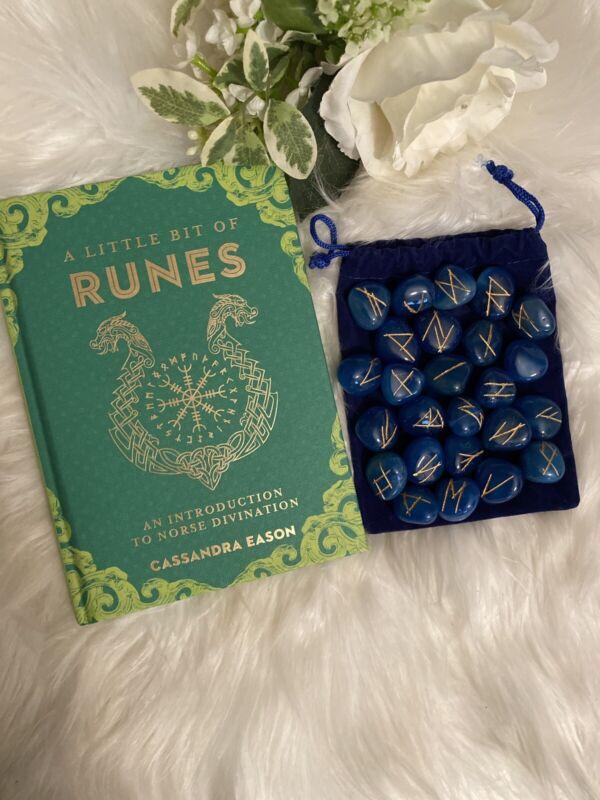 BLUE ONYX Rune Set NEW Runes 25 pc Elder Futhark Tiles with Rune Poster