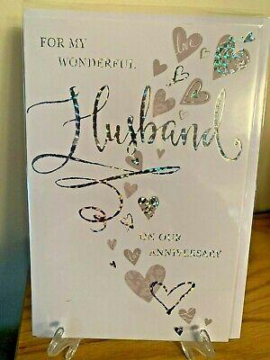 Cute Anniversary Card For Wonderful Husband Male Celebrations - Silver Foil