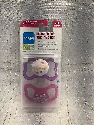 MAM Air Collection 2 PACK Pacifiers Sensitive Skin SILICONE 6+Months Orthodontic
