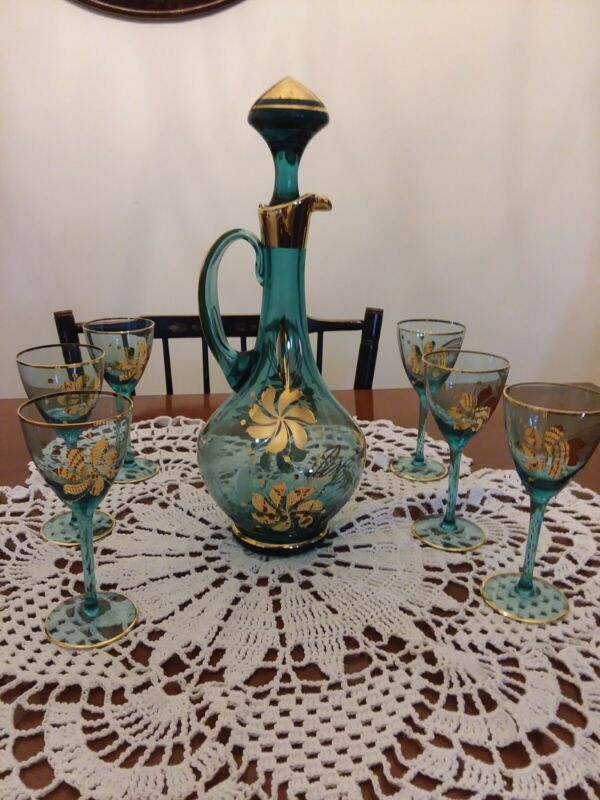 Bohemian Vintage Turquoise and Gold Decanter Set with (6) glasses